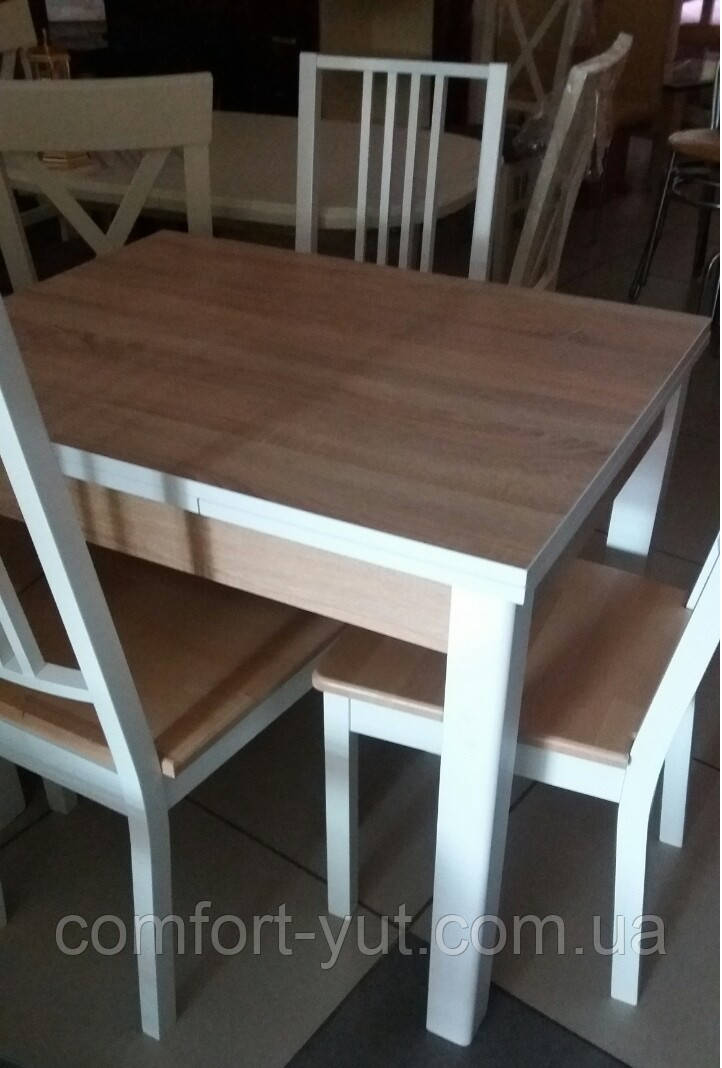 Стол обеденный Марсель 90(+35+35)*70  белый - Сонома