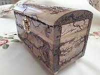 Шкатулка - сундук деревянная 16х8х10 см.