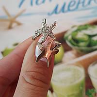 Срібний перстень Морські Зірочки із золотою вставкою та білими маленькими камінцями