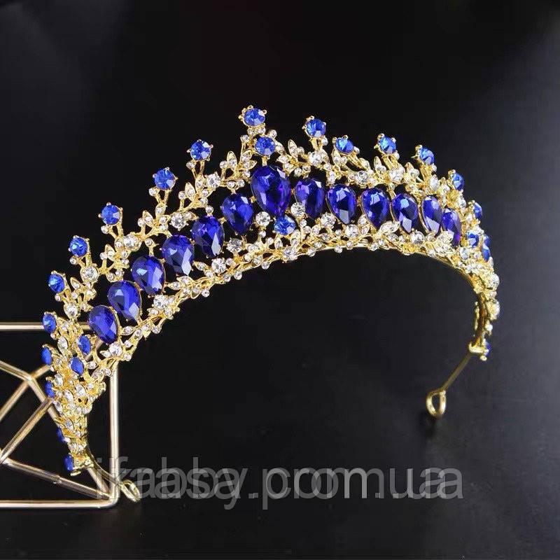 Обручє діадема золотого кольору з кристалами синього кольору (5,5см)