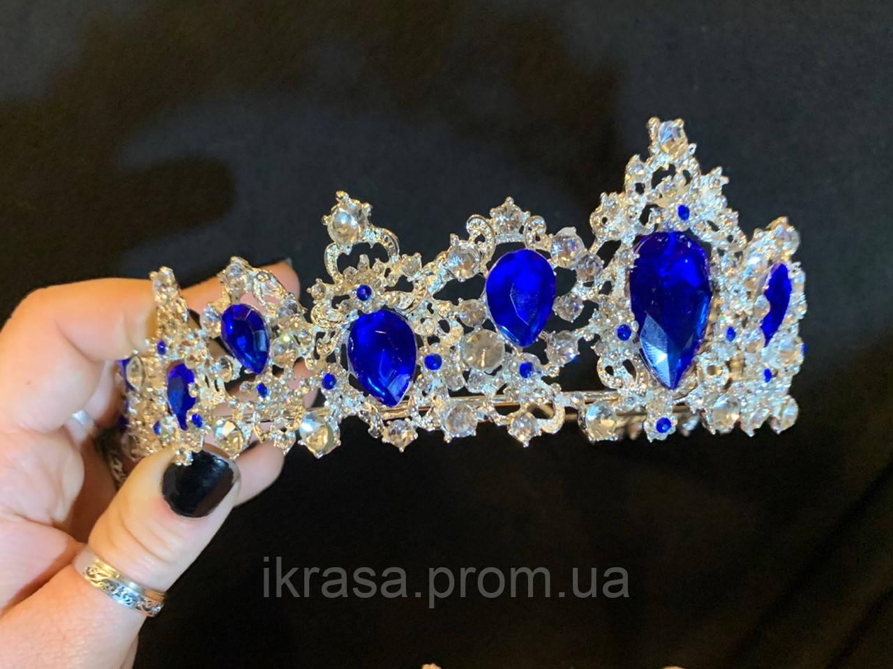 Felicia - Срібна корона півколом з синім камінням (5,5 см)