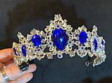 Felicia - Срібна корона півколом з синім камінням (5,5 см), фото 2