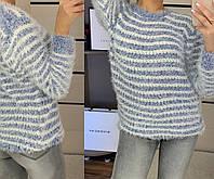 Красивый нежный женский свитер травка в полоску