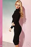Ділове облягаюче плаття-міді з м'якої еко-замші, фото 2