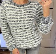 Красивый нежный женский свитер травка в полоску, фото 1
