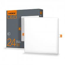 Світильник LED 24W квадратний врізний 4100K 220V VIDEX