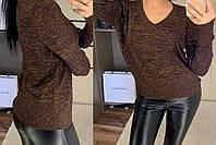 Красивый женский свитер, джемпер с v-образным вырезом, фото 1