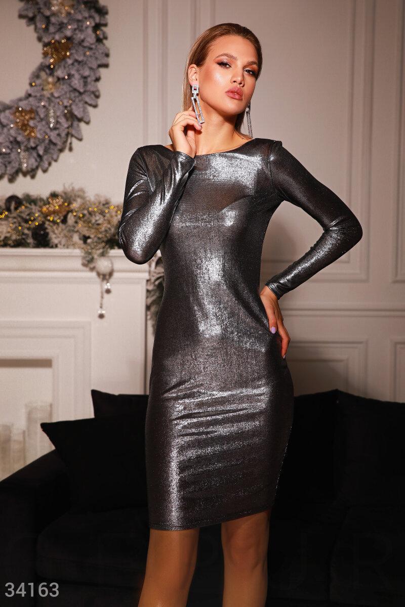 Шикарне плаття з мерехтливим ефектом з V-вирізом на спинці, норма і батал великі розміри