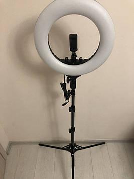Професійна кільцева світлодіодна LED лампа 36 см 40 вт з дзеркалом ,тримач для телефону