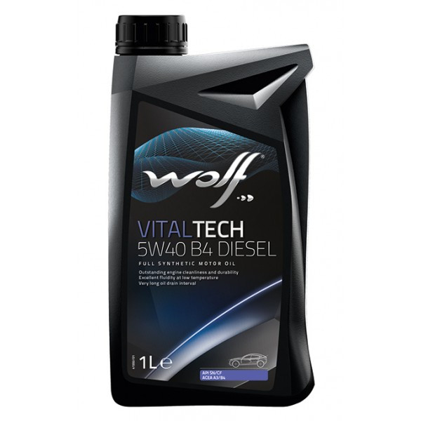 Синтетическое дизельное масло WOLF VITALTECH 5W40 B4 Diesel, канистра 1л