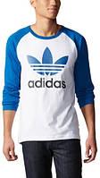 Свитшот реглан adidas (Premium-class) синий с белым