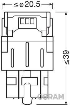 Светодиодные лампы OSRAM LEDriving W21/5W LED 12V 1.7W 6000K W3X16Q (7716CW-02B), фото 2
