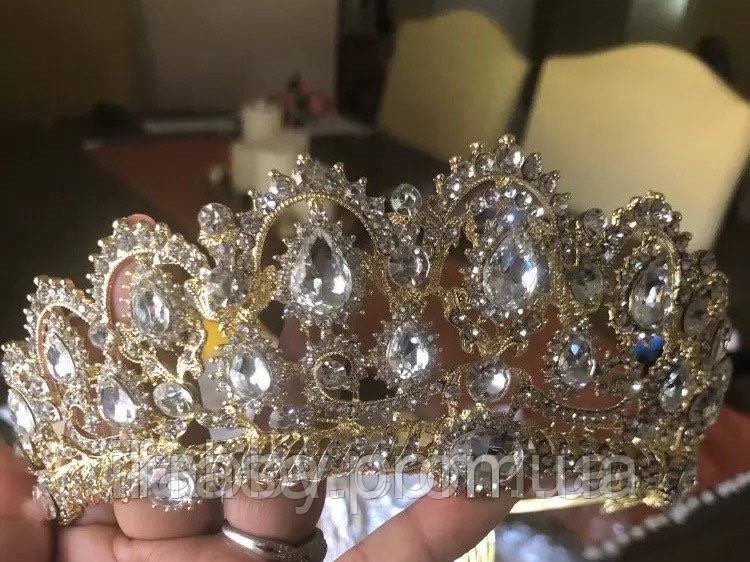 Lizy - Діадема копія великобританської корони золота з гребінцями (6 см)