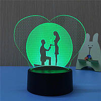 3D Светильник Романтика, светильник в форме сердца. 1 светильник - 16 цветов света. Подарок девушке на 8 марта