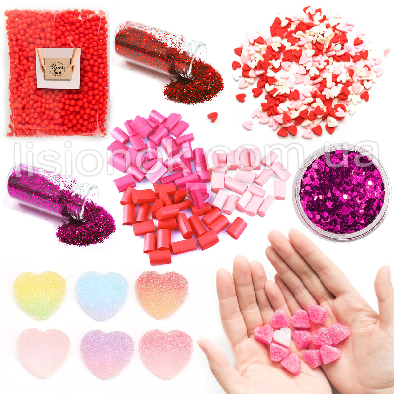Love Slime Box: шармики, блестки, фоам чанкс, пенопласт, посыпки сердечки