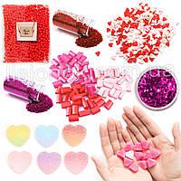 Love Slime Box: шармики, блестки, фоам чанкс, пенопласт, посыпки сердечки, фото 1