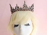 Корона повного кола з перлинами кольору капучіно, кристалами чорного, коричневого та австрійський опал, фото 3