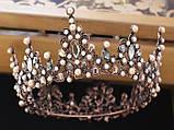 Корона повного кола з перлинами кольору капучіно, кристалами чорного, коричневого та австрійський опал, фото 4