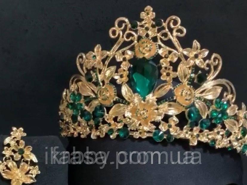 Висока корона золотого кольору з зеленим камінням (8cm)