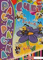 Счет. Детская книжка-раскраска+ наклейки (486612)