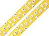 Лента капроновая желтая в цветочек 15мм