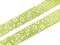 Лента атласная зеленая в цветочек 10мм, фото 1