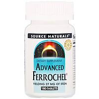 Железо в биодоступной форме Source Naturals, Advanced Ferrochel, 180таблеток