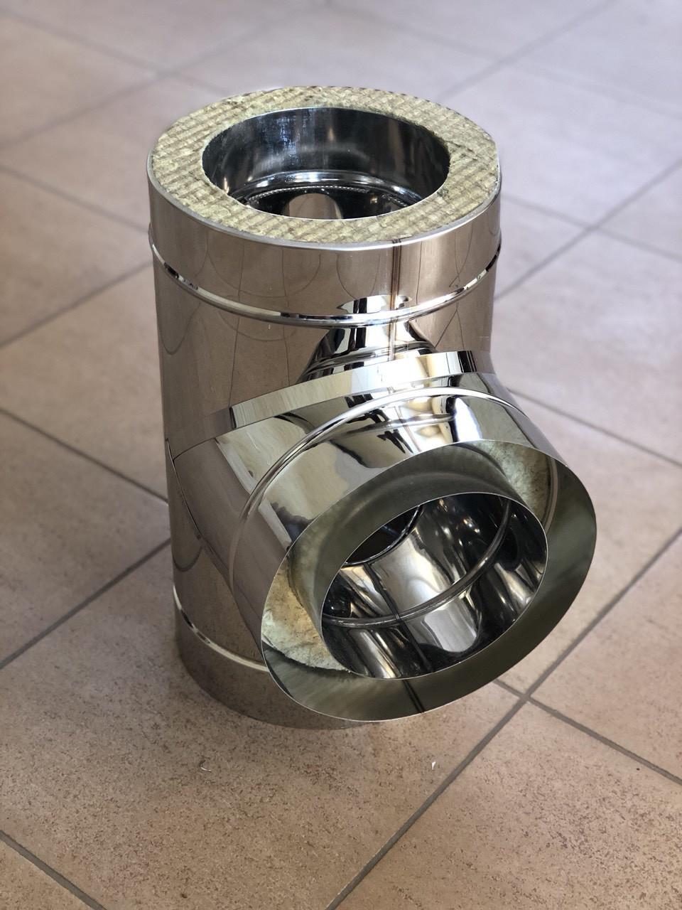 Тройник дымоходный 90° н\н 0,8 мм 250/320