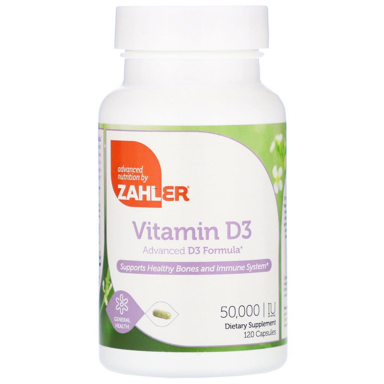 Витамин D3 Zahler, 50000 МЕ, 120 растительных капсул