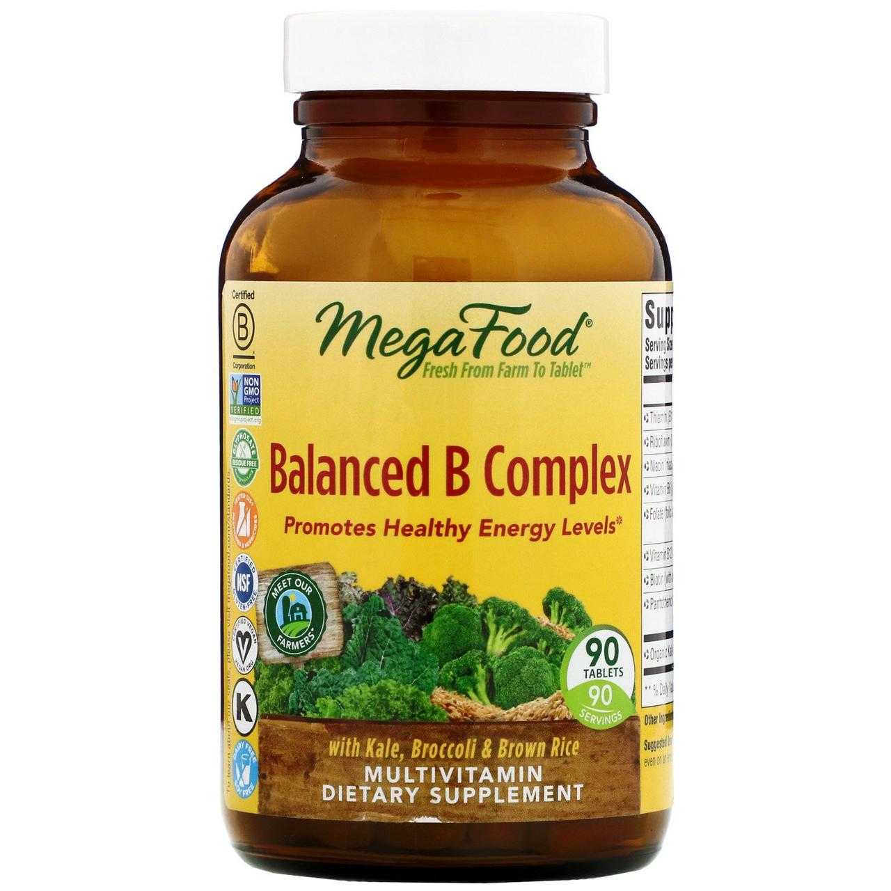 Сбалансированный комплекс витаминов группы В от MegaFood, 90 таблеток