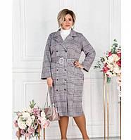 Платье-пальто женское большого размера бордовое