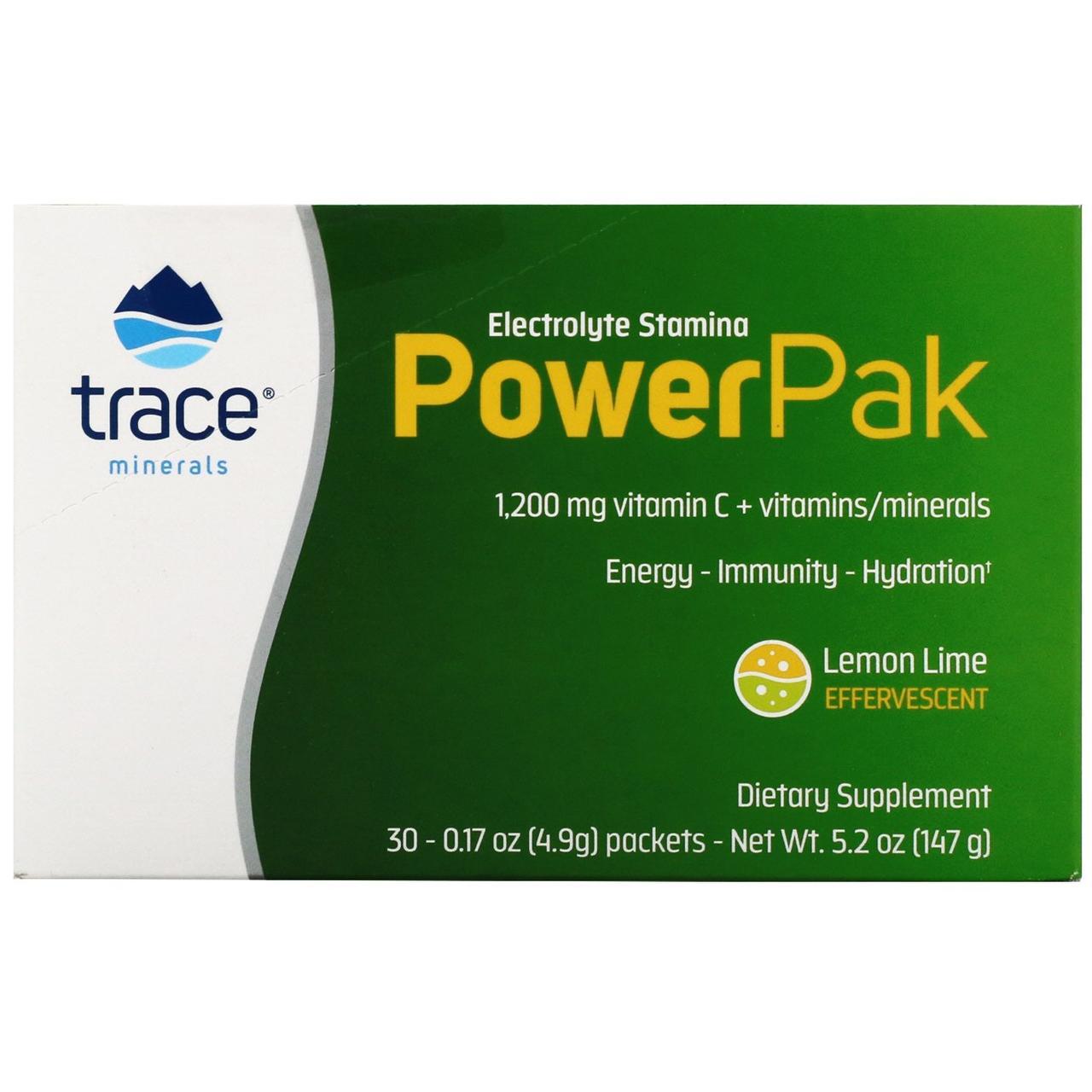 Электролитическая стойкость и витамин С от Trace Minerals Research, вкус лимон-лайм, 30 пакетиков по 4.9 г