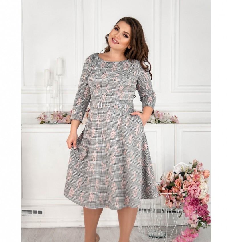 Платье женское с расклешенным подолом серое