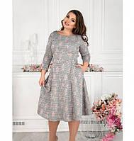 Платье женское с расклешенным подолом серое, фото 1