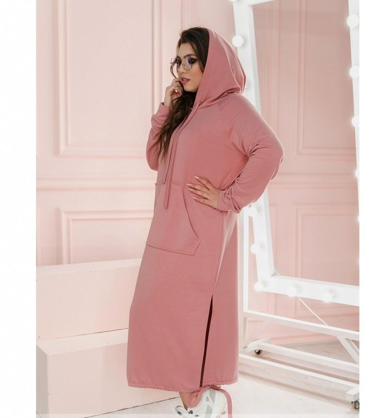 Повседневное женское платье батал розовое