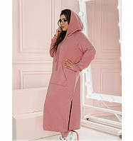 Повседневное женское платье батал розовое, фото 1