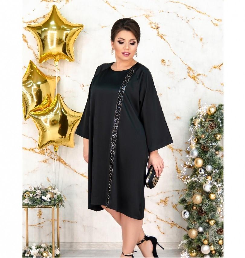 Элегантное платье из атласной ткани №5211.25-черный