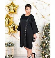 Элегантное платье из атласной ткани №5211.25-черный, фото 1