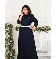 Платье макси батал с брошью и поясом №8-203-синий