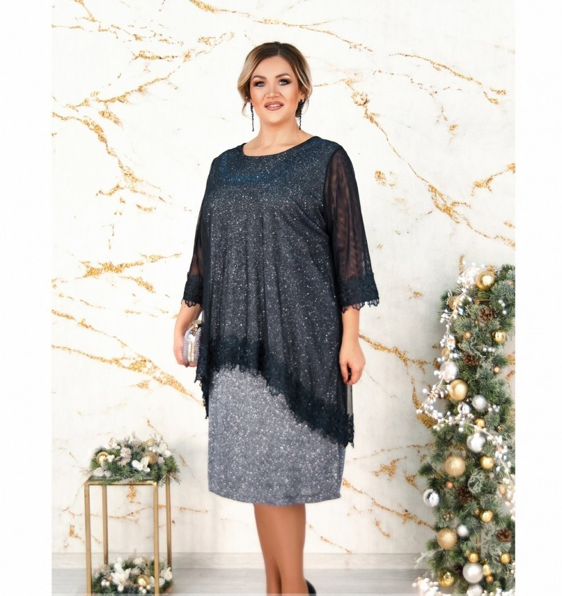 Платье батал из мягкой ткани с люрексом №19-35СБ-серебристо-синий