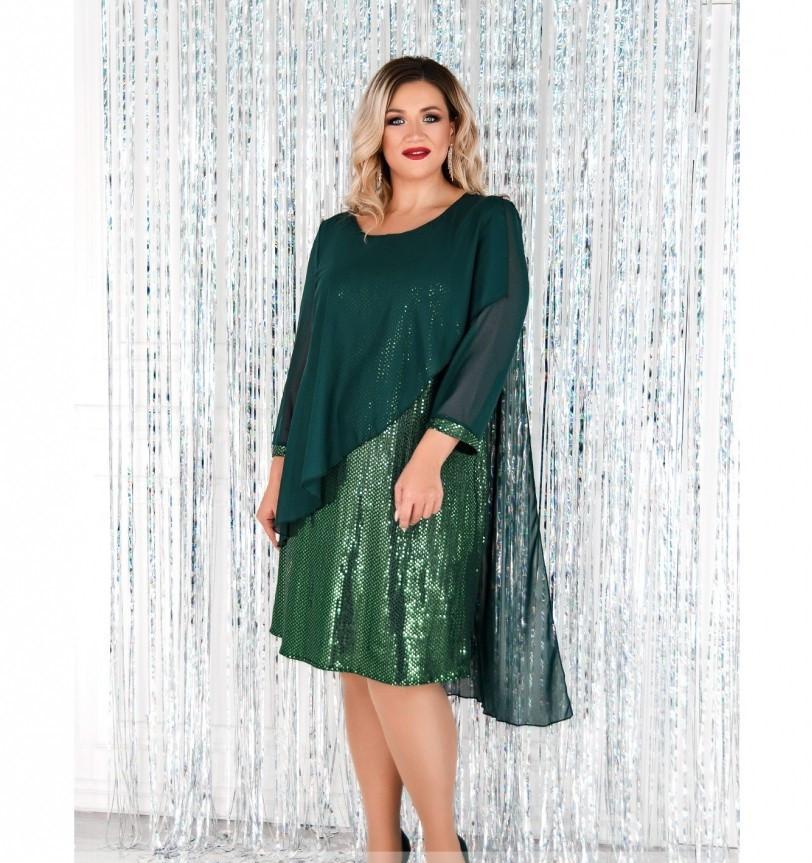 Платье А-силуэта, свободного кроя №755-1СБ-темно-зеленый