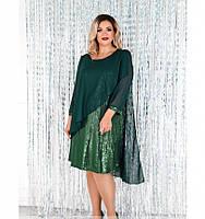 Платье А-силуэта, свободного кроя №755-1СБ-темно-зеленый, фото 1