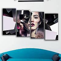 Современная модульная картина для салона красоты - мода, макияж, боди-арт