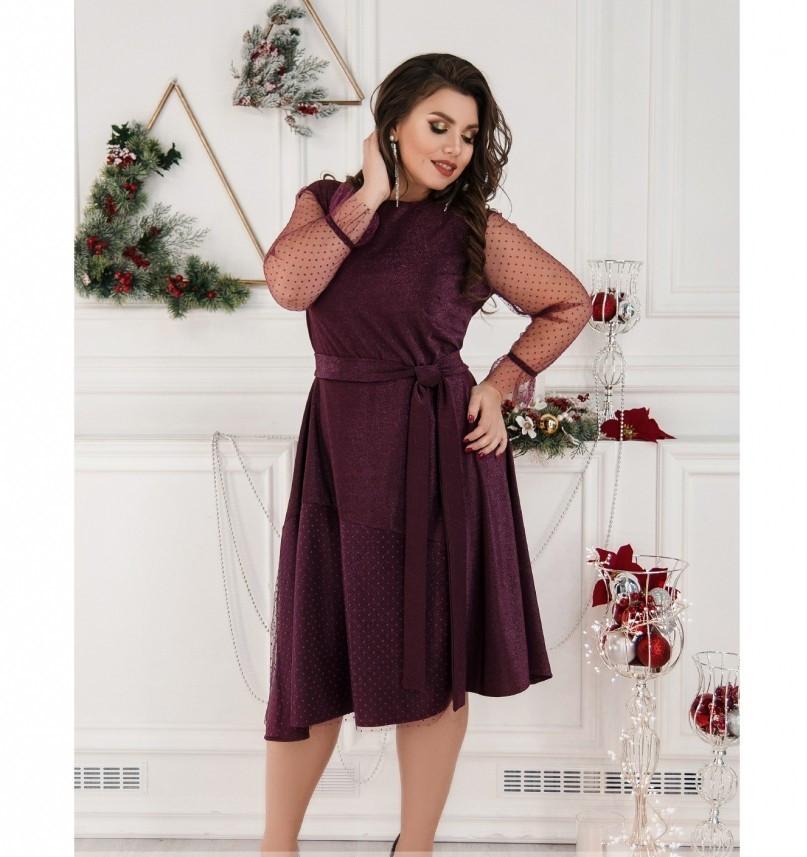 Нежное нарядное платье батал №757-бордо
