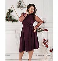 Нежное нарядное платье батал №757-бордо, фото 1