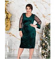 Элегантное вечернее платье плюс сайз №487Б-зеленый, фото 1