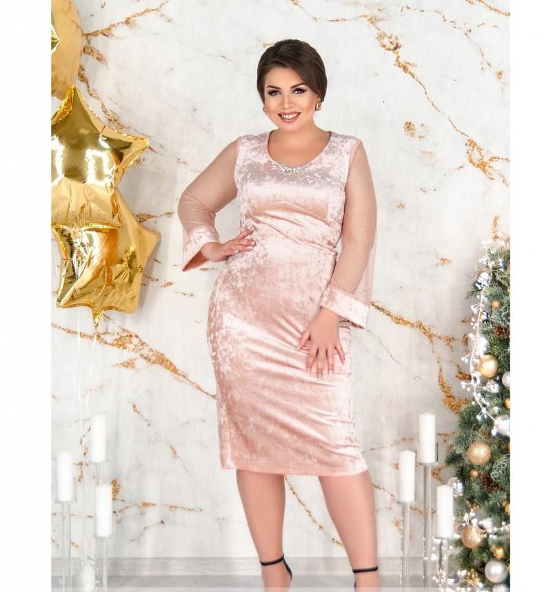 Элегантное вечернее платье плюс сайз №487Б-пудра