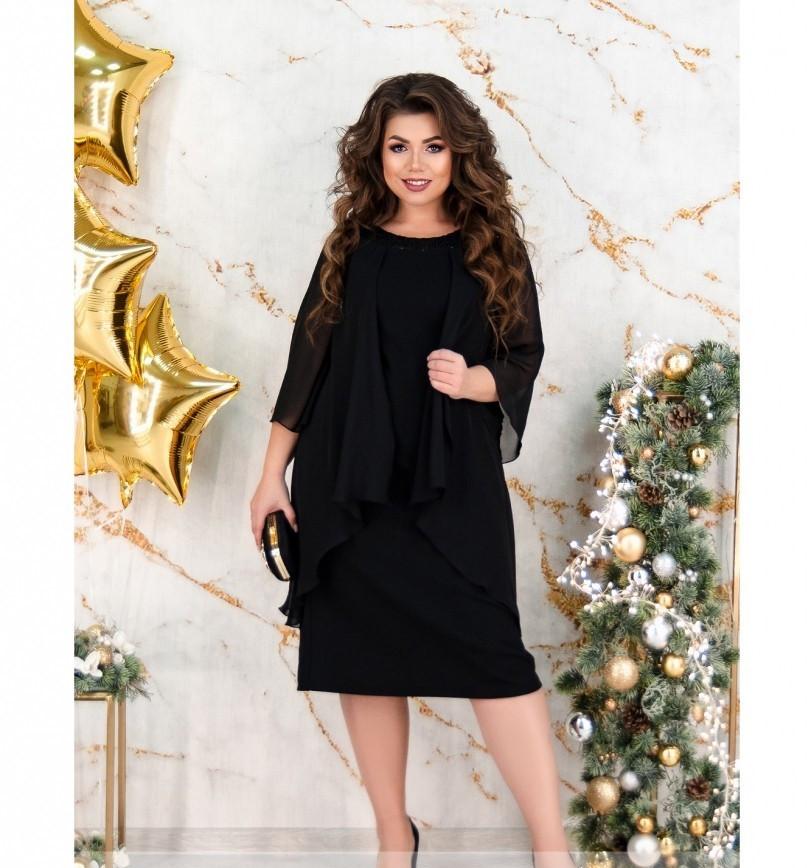 Нарядное платье большого размера №483Б-черный