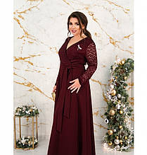Нарядное вечернее платье батал с брошью №17-187-бордо