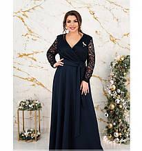 Нарядное вечернее платье батал с брошью №17-187-синий